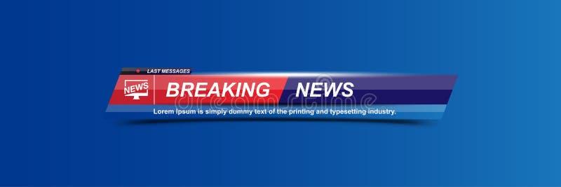 Schablonentitel der letzten Nachrichten mit Schatten auf weißem Hintergrund für Schirm Fernsehkanal Flache Vektorillustration EPS stock abbildung