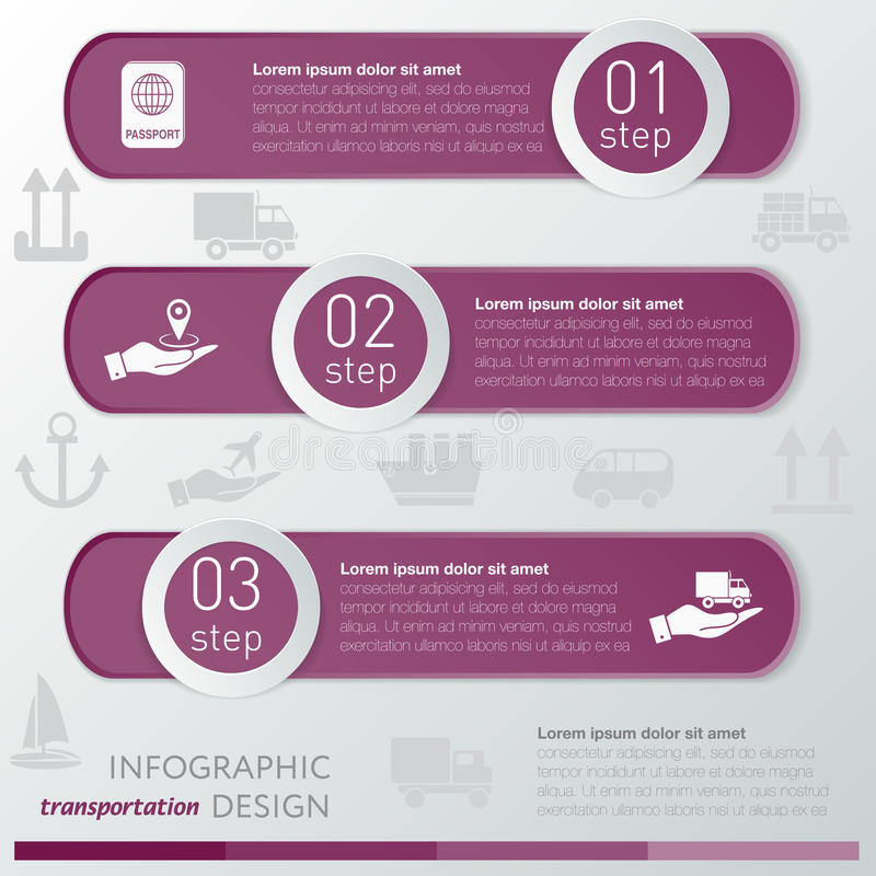 Schablonentransport infographic Ikone und Schritte vektor abbildung