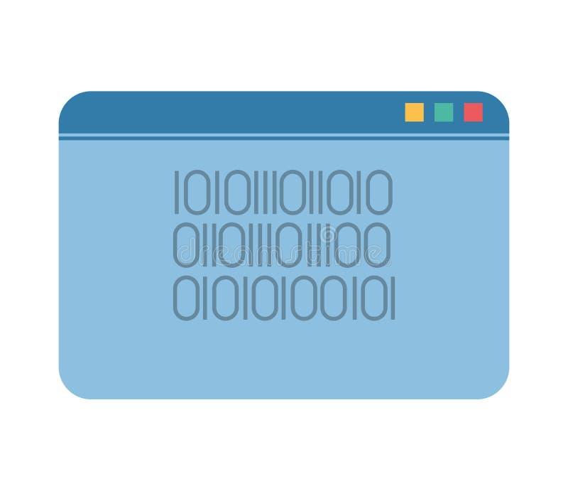 Schablonenwebseite mit binär Code stock abbildung