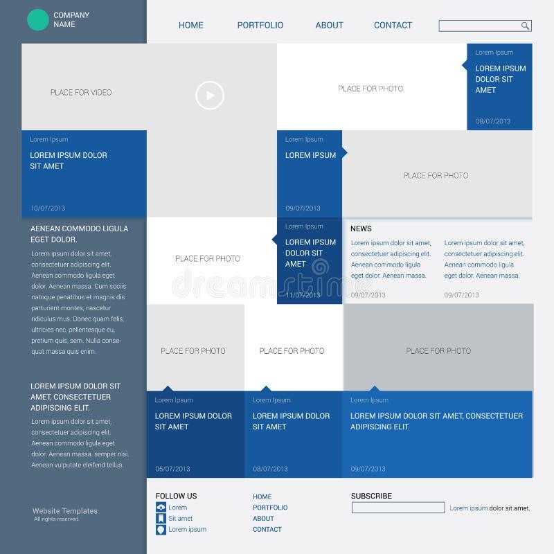 Schablonenwebsite, errichtet auf dem Gitter mit 16 Spalten vektor abbildung
