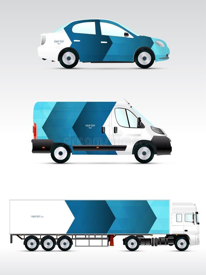 Schablonenwerbeträger, Branding oder Unternehmensidentitä5 Personenkraftwagen, LKW, Bus vektor abbildung