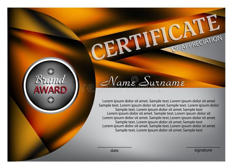 Schablonenzertifikat oder -diplom Moderne Auslegung Vektor lizenzfreie abbildung