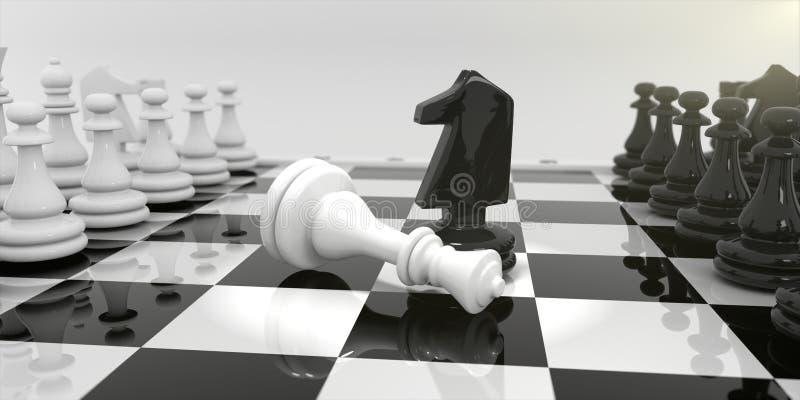 Schach auf dem Schachbrett stock abbildung
