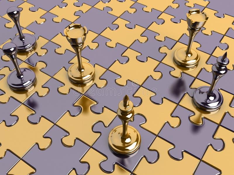 Schach auf einem Puzzlespielvorstand vektor abbildung