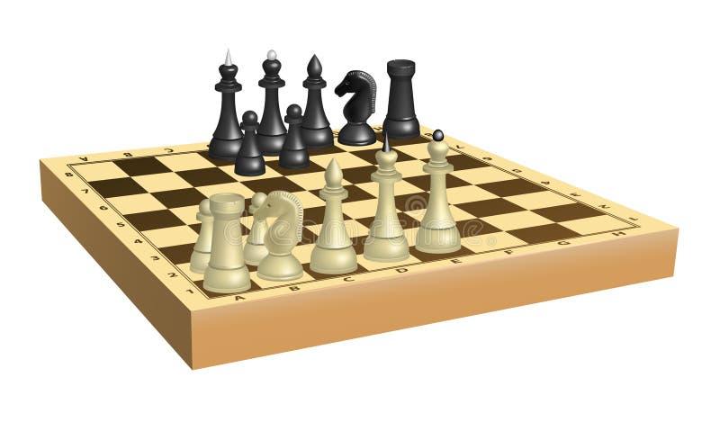 Schach auf Schachbrett lizenzfreie abbildung
