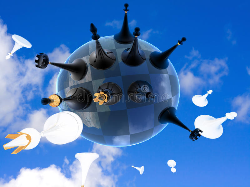 Schach-Globalkrieg auf Erde gegen den Himmel lizenzfreie abbildung