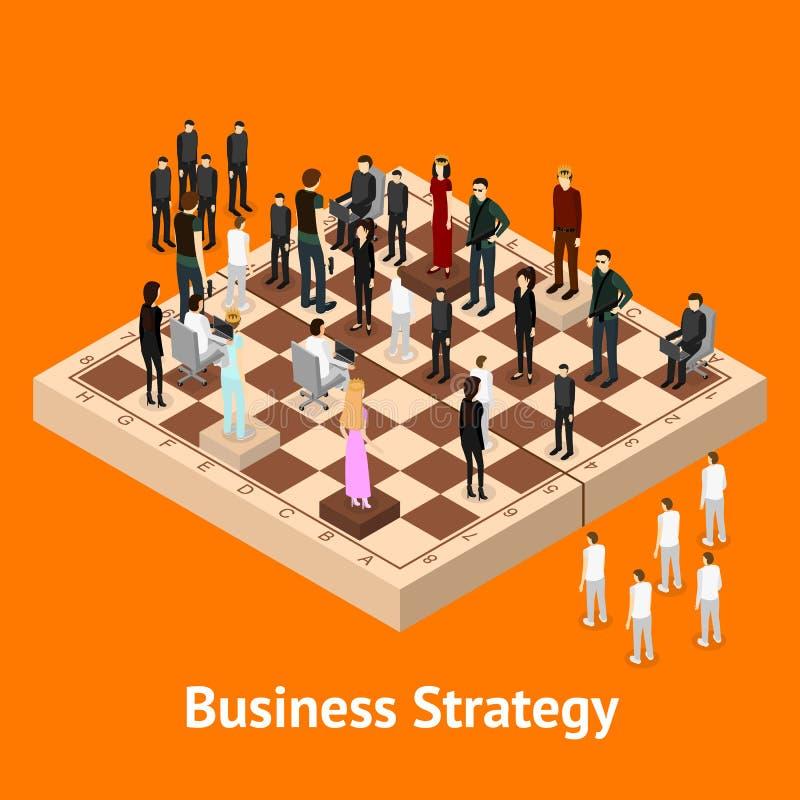 Schach-Leute-Zahlen auf einer Schachbrett-isometrischen Ansicht Vektor stock abbildung
