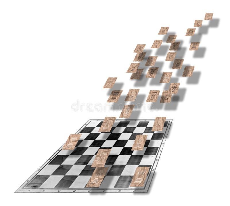 Schach stellt auf Stücken Braun zerknittertem Verpackenpapier dar vektor abbildung