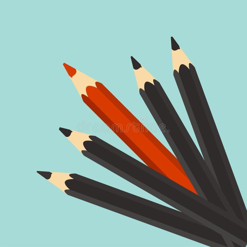 Schach stellt Bischöfe dar Roter einzigartiger unterschiedlicher Bleistift Individualität, lizenzfreie abbildung