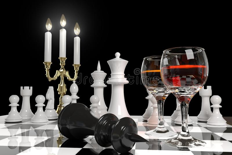 Schach und Kerzen stock abbildung