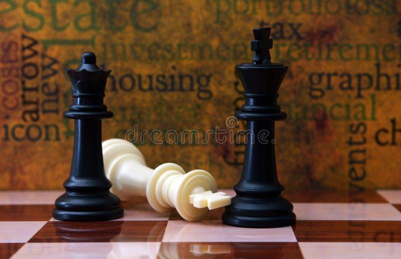 Schach und Wohnungskonzept stockbild