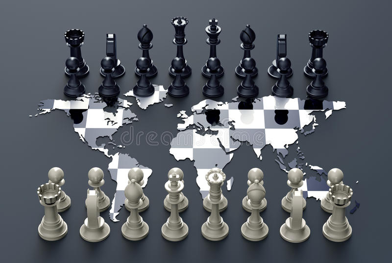 Schachbrett aus der Weltkarte mit Schachspiel heraus stock abbildung
