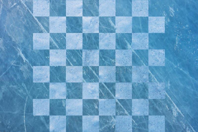 Schachbrett aus Schnee und Eis, Winter Hintergrund stockfotos