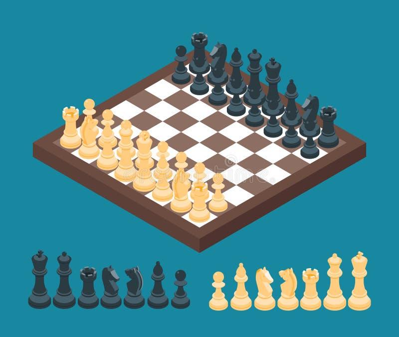 Schachbrett mit Schachzahlen vektor abbildung