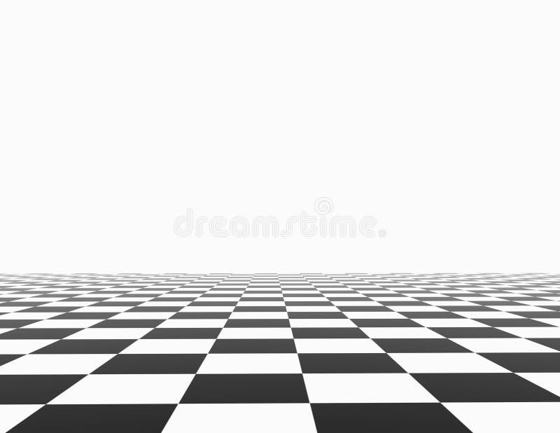 Schachbrett mit weißer Hintergrundschablone lizenzfreie abbildung