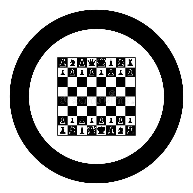 Schachbrett und Schachfiguren zeichnen Zahlen Ikonenschwarzfarbe im runden Kreis lizenzfreie abbildung