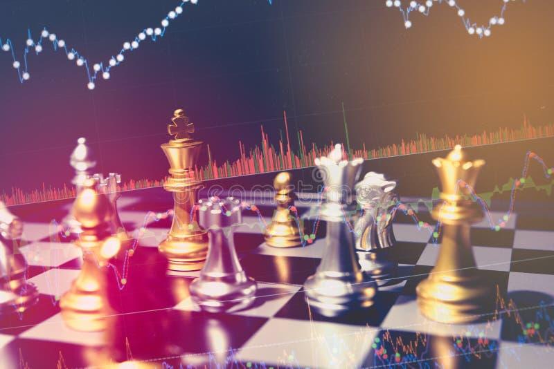SchachBrettspielkonzept von Geschäftsideen und -wettbewerb und Strategie planen Erfolgsbedeutung, Finanzstatistikdiagramm auf Lag stockfotografie