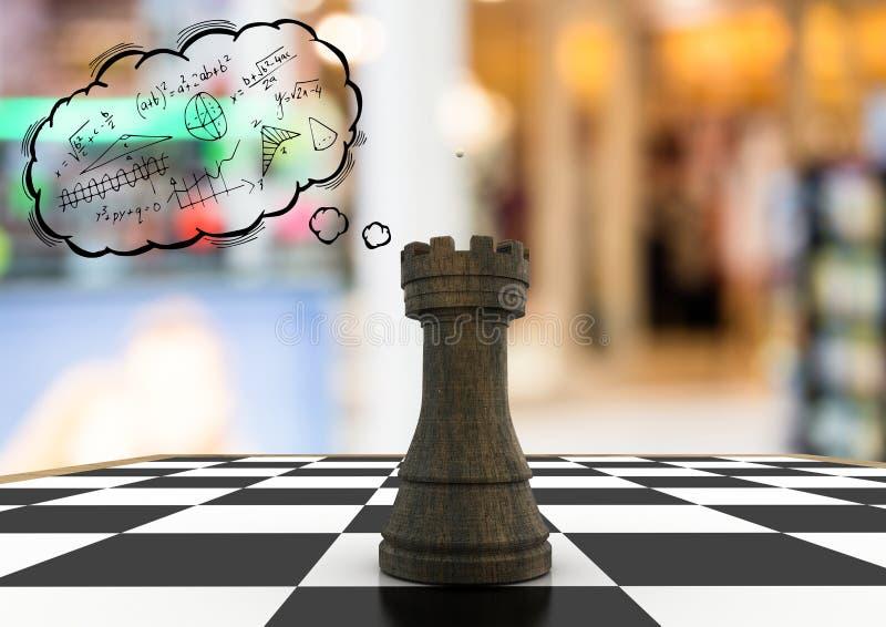 Schachfigur gegen undeutliche Hintergrund- und Gedankenwolke mit Mathe kritzelt lizenzfreie abbildung