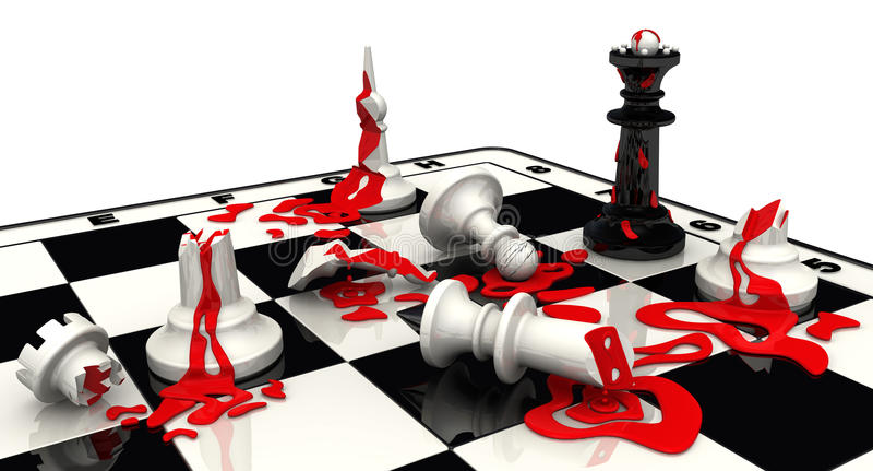 Schachkampf? König-Weißsieger Die schwarzen Stücke gewonnen lizenzfreie abbildung