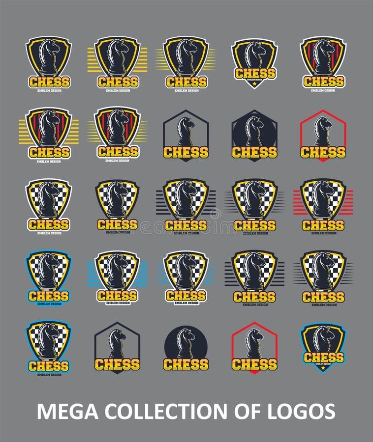 Schachlogos Stellen Sie von 30 Schachausweisen für Ihr Geschäft ein Schablonen des modernen Entwurfs für Ihren Mannschaftssport stock abbildung