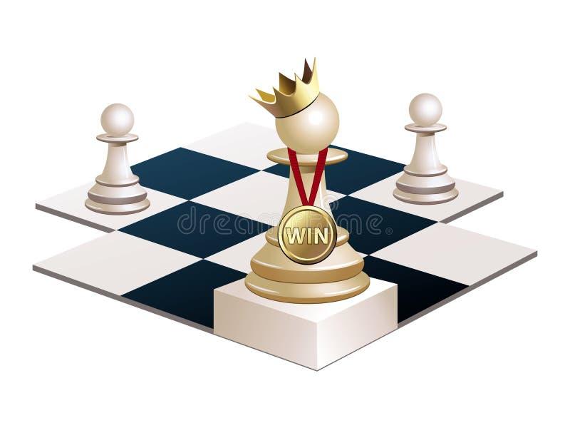 Schachpfand gewann und stand Königin vektor abbildung