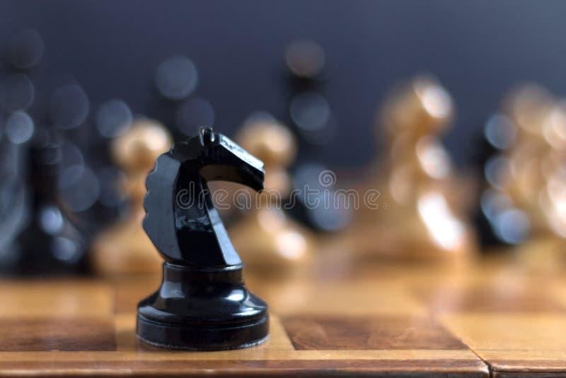 Schachpferd, das vor Schachfiguren bleibt stockbilder