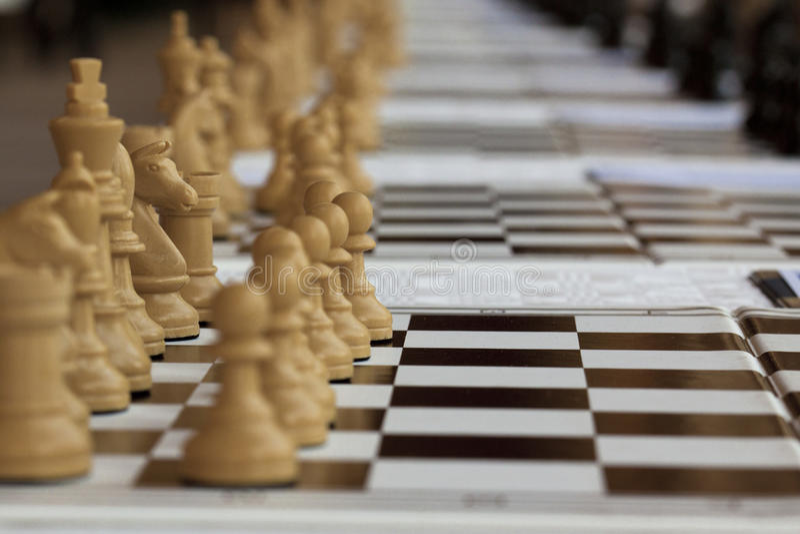Schachspiel an Bord lizenzfreie stockfotografie