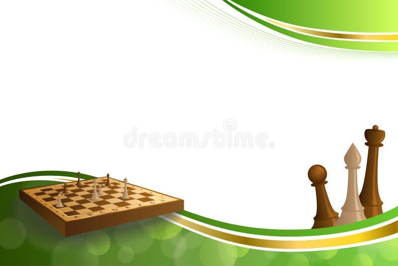 Schachspiel-Brauns des Hintergrundes stellt beige Brett des abstrakten grünes Goldillustration dar lizenzfreie abbildung