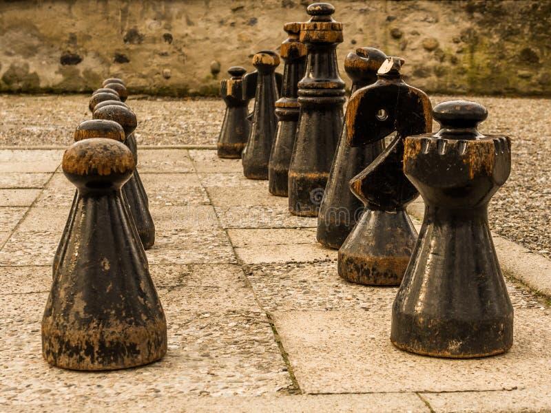 Schachspielbrett und -stücke in einem Park in Zürich die Schweiz lizenzfreie stockbilder