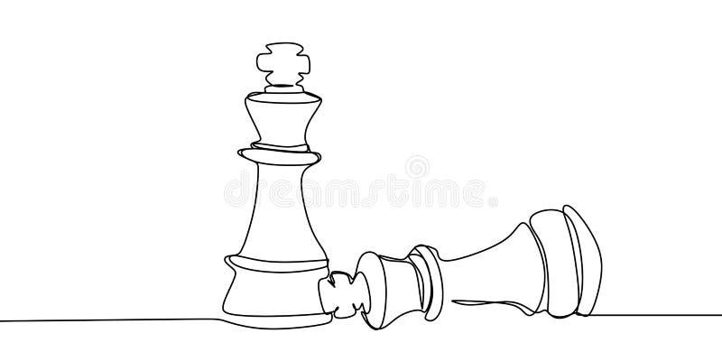 Schachspieler, der hinunter den Gegner trägt Ununterbrochenes Federzeichnungsvektorillustration stock abbildung