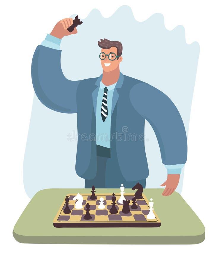 Schachspielermann in den Gläsern setzte Gegner schachmatt lizenzfreie abbildung