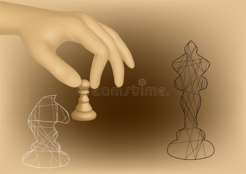 Schack och hand royaltyfri illustrationer
