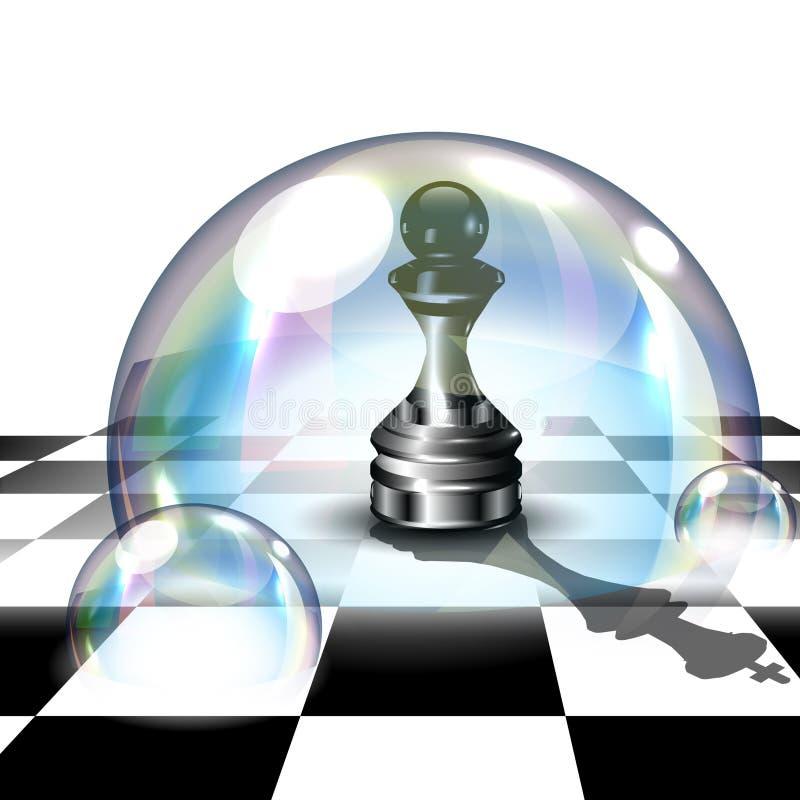 Schack pantsätter i såpbubbla vektor för illustration 3d royaltyfri illustrationer