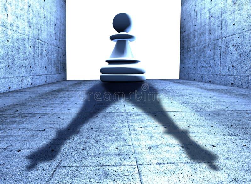 Schack pantsätter med skuggan av en konung vektor illustrationer