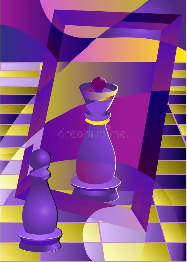 Schack pantsätter och gör till drottning royaltyfri illustrationer