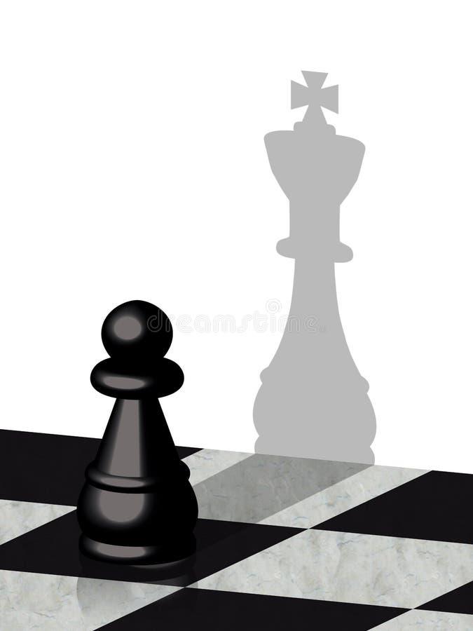 Schack pantsätter uppvisning av skuggan av en konung stock illustrationer