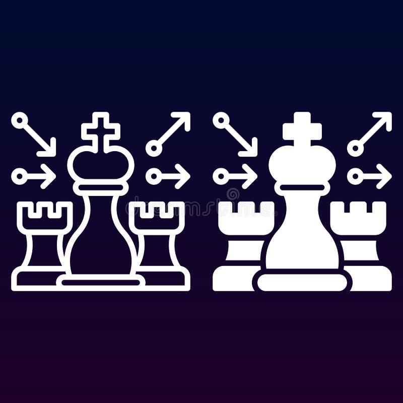 Schack, strategilinje och fast symbol, översikt och fylld pictogram för tecken för vektor som linjär och full, isoleras på vit stock illustrationer