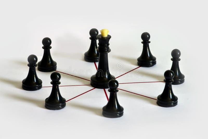 Schackbegrepp, lagbyggnad, ledarskap och delegation av myndighet, workflow royaltyfria foton
