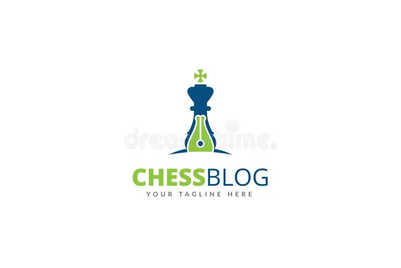 Schackblogg Logo Design Template Vector royaltyfri illustrationer