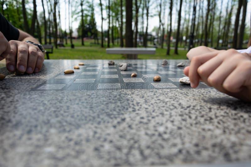 Schackbr?det f?r schack eller utomhus- kontroll?rer i parkerar royaltyfri foto