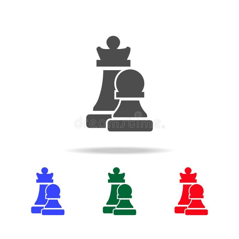 Schackdiagram kontursymboler Beståndsdelar av sportbeståndsdelen i mång- kulöra symboler Högvärdig kvalitets- symbol för grafisk  royaltyfri illustrationer