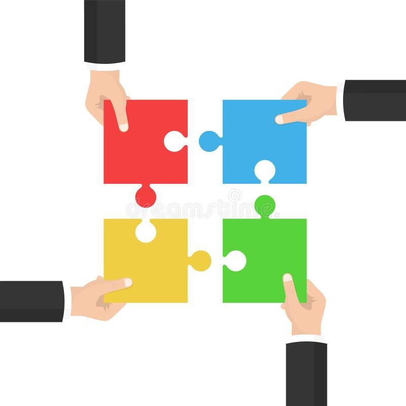 Schacket figurerar bishops Affärsmän som rymmer ett pussel Strategi och lösning Samarbete som kombinerar vektor stock illustrationer