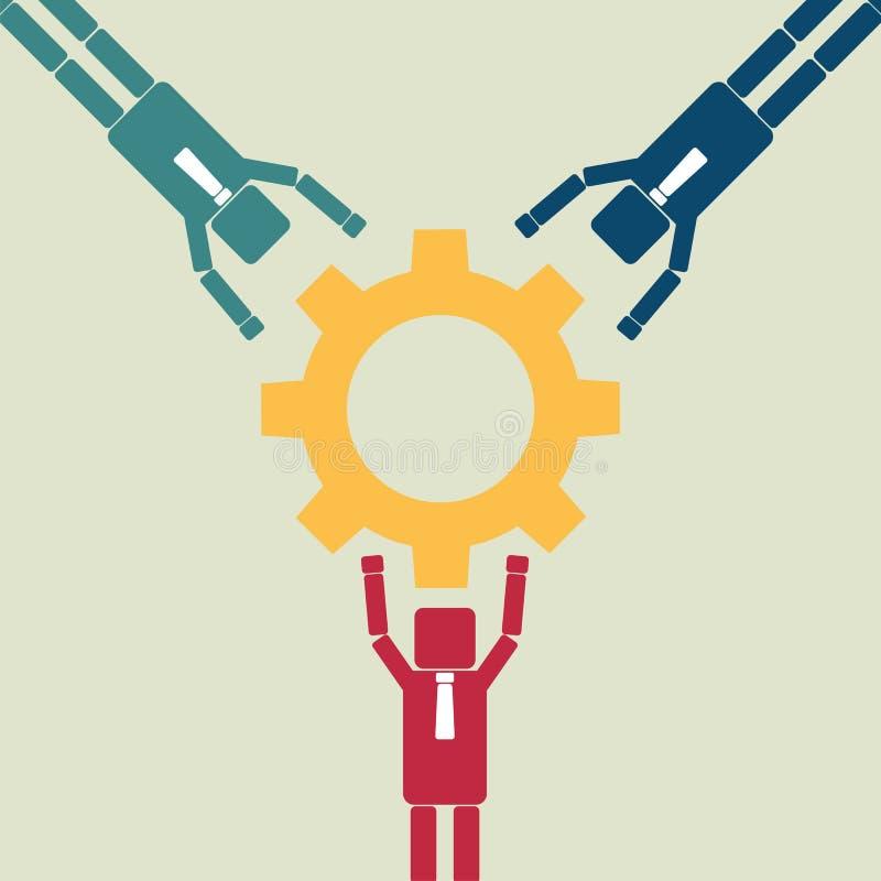 Schacket figurerar bishops Partnerskapbegrepp med anslutning av kugghjulet ocks? vektor f?r coreldrawillustration royaltyfri illustrationer