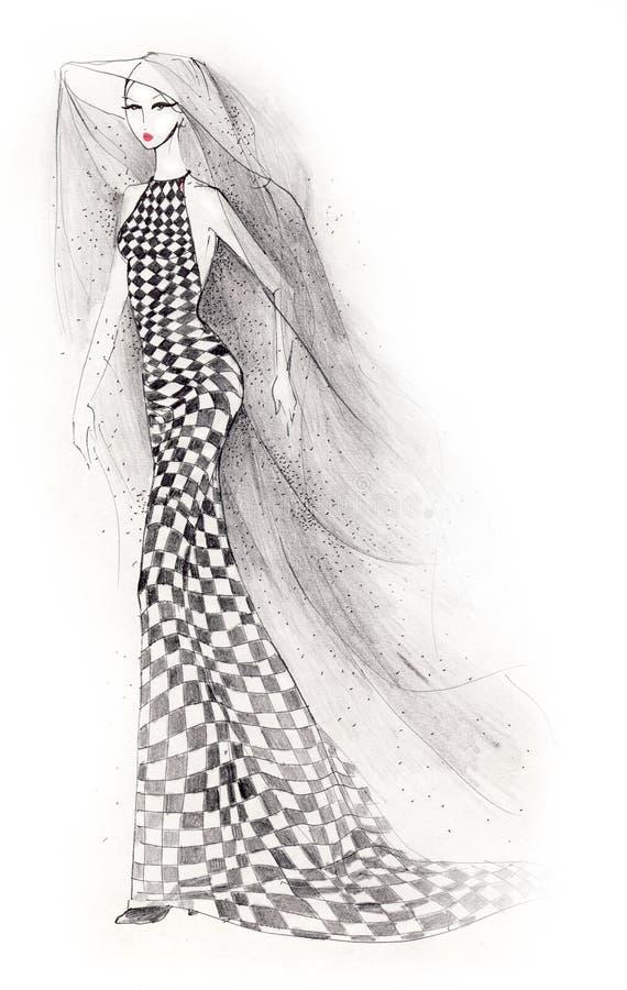 Schackklänningkvinna royaltyfri illustrationer