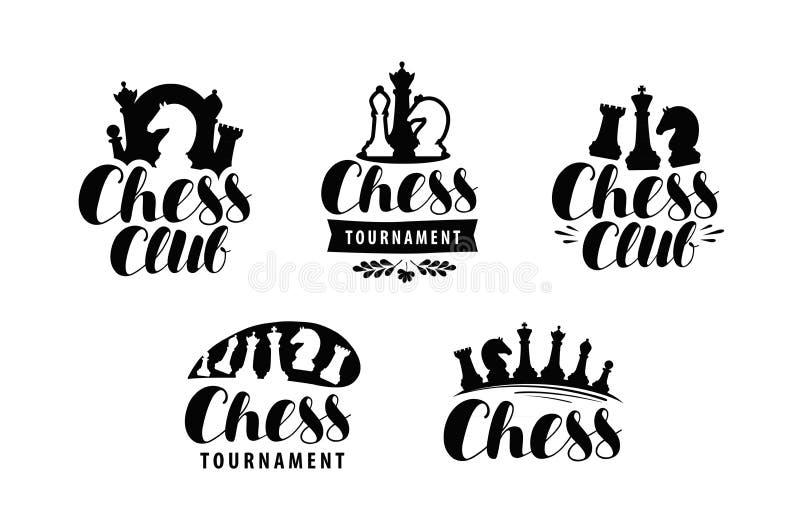 Schackklubba, logo eller etikett Lek turneringsymbol Typografisk design som märker vektorn royaltyfri illustrationer