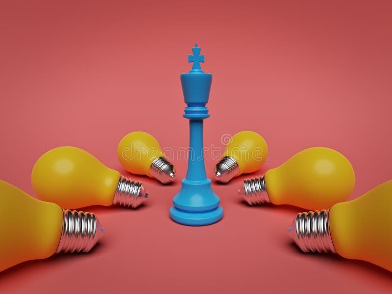 Schackkonung som står med många ljusa kulor framf?rande 3d royaltyfri illustrationer