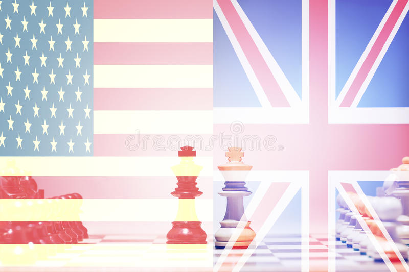 Download Schacklek USA vs UK arkivfoto. Bild av race, diplomati - 78729490