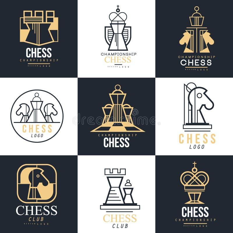 Schacklogouppsättning, designbeståndsdel för mästerskap, turnering, schackklubba, affärskort, vlack och vitvektor royaltyfri illustrationer