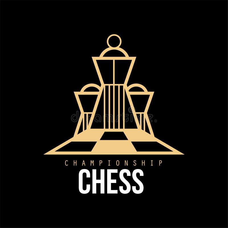 Schackmästerskaplogo, designbeståndsdel för turnering, schackklubba, illustration för vektor för affärskort vektor illustrationer