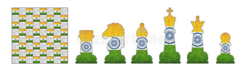 Schackstycken med den Indien flaggan vektor illustrationer